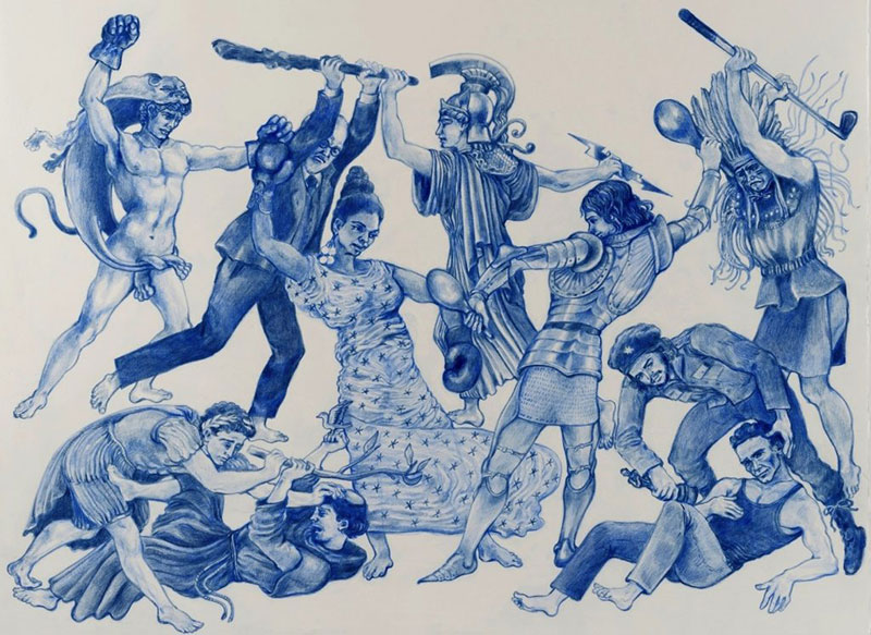 Christophe-Chemin-The-Important-Ones-2016-Blue-colored-pencil-on-paper-as-a-muse